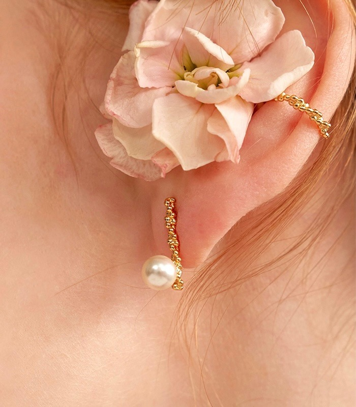 Flower Bud Pearl Earring (2color)